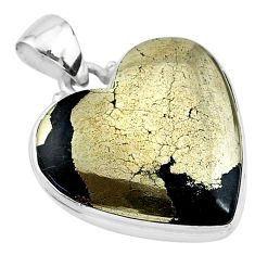 25.57cts natural pyrite in magnetite (healer's gold) 925 silver pendant t13414
