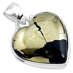 17.60cts natural pyrite in magnetite (healer's gold) 925 silver pendant t13417