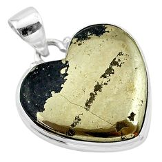 20.07cts natural pyrite in magnetite (healer's gold) 925 silver pendant t13488
