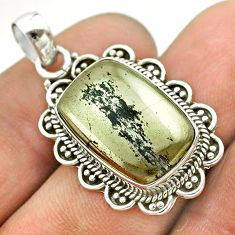 13.63cts natural pyrite in magnetite (healer's gold) 925 silver pendant t53367