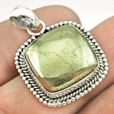 16.90cts natural pyrite in magnetite (healer's gold) 925 silver pendant t53371