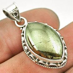 12.69cts natural pyrite in magnetite (healer's gold) 925 silver pendant t53374