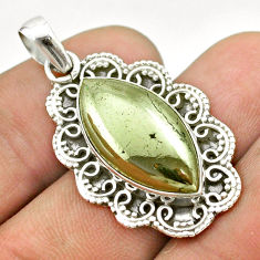 13.28cts natural pyrite in magnetite (healer's gold) 925 silver pendant t53393