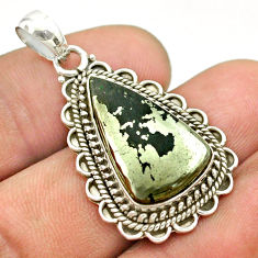 12.31cts natural pyrite in magnetite (healer's gold) 925 silver pendant t53397