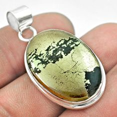 22.05cts natural pyrite in magnetite (healer's gold) 925 silver pendant t53718