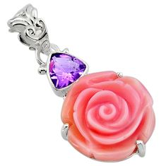 15.26cts natural queen conch shell flower amethyst 925 silver pendant r48825