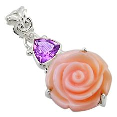 15.68cts natural queen conch shell flower amethyst 925 silver pendant r48830