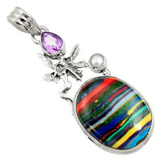 Clearance Sale- 16.03cts natural rainbow calsilica 925 silver angel wings fairy pendant d44754