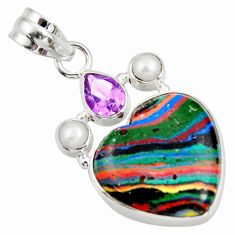 Clearance Sale- 11.73cts natural rainbow calsilica amethyst 925 silver heart pendant d39490
