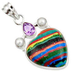 Clearance Sale- 13.70cts natural rainbow calsilica amethyst 925 silver heart pendant d39498