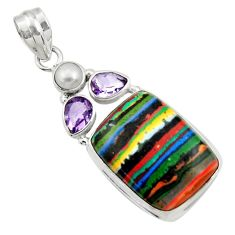 18.46cts natural rainbow calsilica amethyst pearl 925 silver pendant d44752