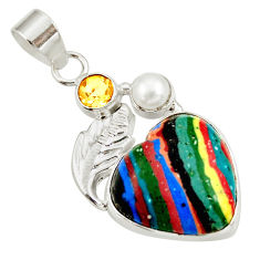 Clearance Sale- 12.02cts natural rainbow calsilica citrine pearl 925 silver heart pendant d39494