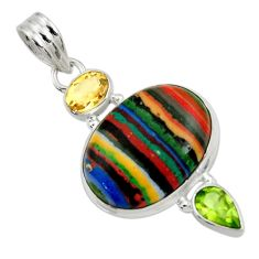 Clearance Sale- 15.02cts natural rainbow calsilica peridot citrine 925 silver pendant d44755