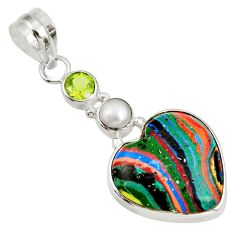 Clearance Sale- 11.17cts natural rainbow calsilica peridot pearl 925 silver pendant d39487