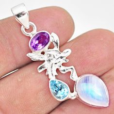 7.67cts natural rainbow moonstone 925 silver angel wings fairy pendant r81323