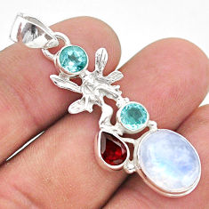 10.41cts natural rainbow moonstone 925 silver angel wings fairy pendant t39437