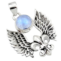4.93cts natural rainbow moonstone 925 silver feather charm pendant r52879