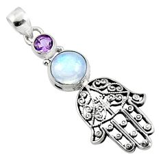 5.10cts natural rainbow moonstone 925 silver hand of god hamsa pendant r52800
