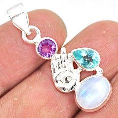 6.38cts natural rainbow moonstone 925 silver hand of god hamsa pendant r81332