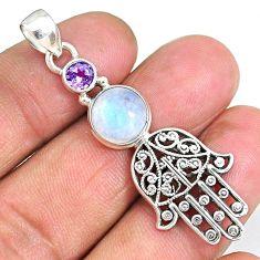 5.89cts natural rainbow moonstone 925 silver hand of god hamsa pendant r90380
