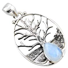 3.28cts natural rainbow moonstone 925 silver tree of life pendant jewelry r53000