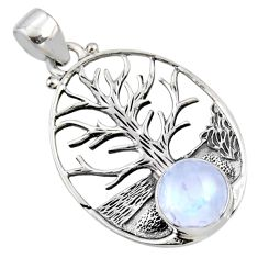 4.65cts natural rainbow moonstone 925 silver tree of life pendant jewelry r53019