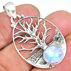 4.38cts natural rainbow moonstone 925 silver tree of life pendant r90440