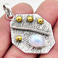 3.13cts natural rainbow moonstone 925 sterling silver 14k gold pendant r37179