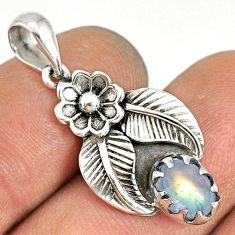 2.09cts natural rainbow moonstone 925 sterling silver flower pendant r77757
