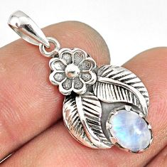 2.09cts natural rainbow moonstone 925 sterling silver flower pendant r77759