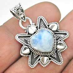 5.38cts natural rainbow moonstone 925 sterling silver heart pendant t56100
