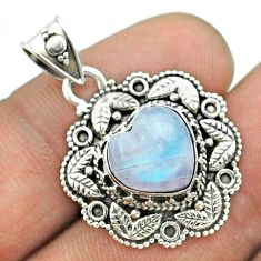 5.14cts natural rainbow moonstone 925 sterling silver heart pendant t56152