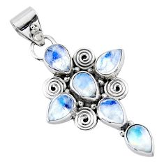 9.54cts natural rainbow moonstone 925 sterling silver holy cross pendant r55800