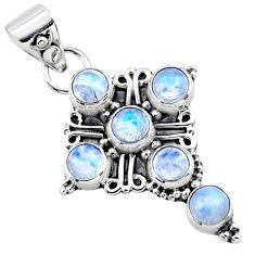 5.38cts natural rainbow moonstone 925 sterling silver holy cross pendant r55837