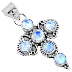 5.87cts natural rainbow moonstone 925 sterling silver holy cross pendant r55838