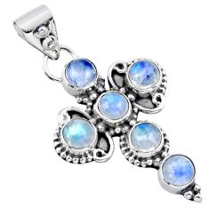 5.54cts natural rainbow moonstone 925 sterling silver holy cross pendant r55840