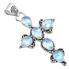 6.31cts natural rainbow moonstone 925 sterling silver holy cross pendant r55877