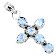 5.72cts natural rainbow moonstone 925 sterling silver holy cross pendant r55878