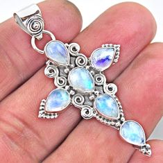 6.58cts natural rainbow moonstone 925 sterling silver holy cross pendant r55919