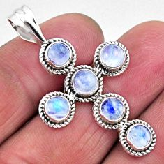 5.38cts natural rainbow moonstone 925 sterling silver holy cross pendant r55957