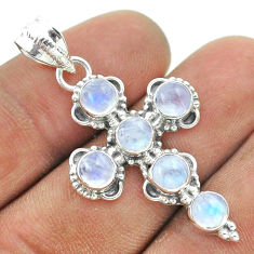 5.80cts natural rainbow moonstone 925 sterling silver holy cross pendant t52885