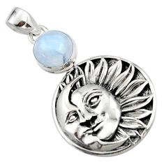 5.32cts natural rainbow moonstone 925 sterling silver moon face pendant r52819