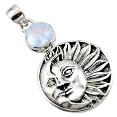 4.69cts natural rainbow moonstone 925 sterling silver moon face pendant r52858
