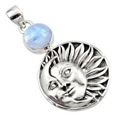 5.08cts natural rainbow moonstone 925 sterling silver moon face pendant r52860