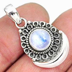 2.43cts natural rainbow moonstone 925 sterling silver moon pendant r89411