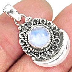 3.06cts natural rainbow moonstone 925 sterling silver moon pendant r89413