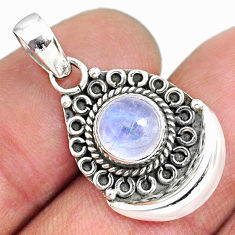 3.07cts natural rainbow moonstone 925 sterling silver moon pendant r89416