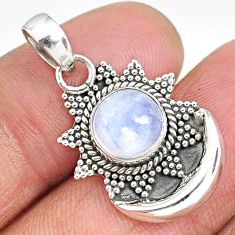 3.11cts natural rainbow moonstone 925 sterling silver moon pendant r89494