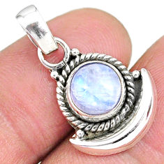 2.89cts natural rainbow moonstone 925 sterling silver moon pendant r89515