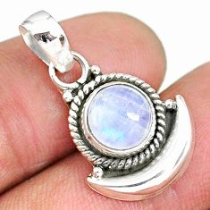 3.07cts natural rainbow moonstone 925 sterling silver moon pendant r89535